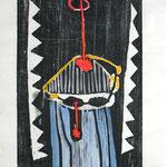 Zu: Selbst mit Dämonen, 1995, Holzschnitt coloriert auf Seidenpapier