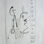 o.T., Graphit auf Seidenpapier, 1995