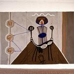 Selbst mit Dämonen, Wandbild, 1995, Asche, Ruß, Kalk, Pigment auf Leinen, 420 x 180 cm