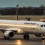 Bei diesem Sonnenuntergang leuchten die Flieger entsprechend... (Embraer ERJ190-200LR / LH CityLine / D-EABQ)