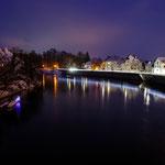 Blick von der Elisenbrücke auf die Donau und Donaukai Richtung Osten