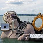 Die Seebühne in Bregenz. Hier finden die Bregenzer Festpiele statt (Bühnenbild 2011 - André Chénier von Umberto Giordano)