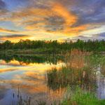 Mai - Früßsommerlicher Sonnenuntergang am Weiher bei Neuburg - Joshofen