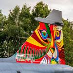 Tail der JAS-39 Gripen aus Tschechien in aktueller Tiger Meet Bemalung. Die hatten schon schönere am Start...
