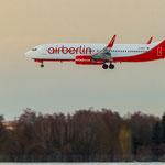 Air Berlin Boeing 737-86J (D-ABAG) im Landanflug...kommt in diesem Licht besonders geil...