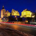 Winter in Neuburg - Blick von der Elisenbrücke auf das Schloss