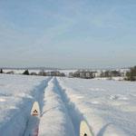 Bei viel Schnee geht Langlaufen auch quer über die Äcker in einer selbst gezogenen Spuren.
