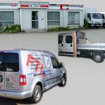 diverse Folienbeschriftungen (Fahrzeuge, Gebäude, Schaufenster)