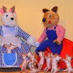 Wolf & die 7 Geißlein 25 cm , die 7 kleinen Geißlein können zum Spielen und Verstecken herausgenommen werden.