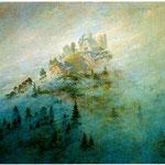 Nebbia mattutina in montagna