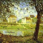 Villaggio sulle rive della Senna (Villeneuve-la-Garenne) - 1872 - Olio su tela