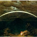 Paesaggio tra le montagne con arcobaleno