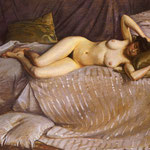 Naked Woman Lying on a Couch