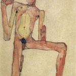 Autoritratto nudo inginocchiato - 1910