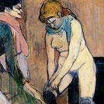 Mujer subiendose las medias