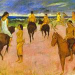 Cavalieri sulla spiaggia - 1902 - Olio su tela