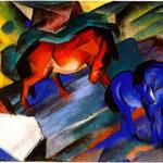 Cavalli rosso e blu