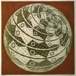 Sphere surface with fishes