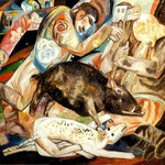 The Hog. 1912-1913. Oil on paper, 37.5x42.5 cm. The Russian Museum, St. Petersburg, Russia.