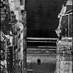 Un mur du Panthéon photographié au téléobjectif du haut de Notre-Dame, Paris, 1956