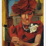 Renato Guttuso - Ritratto di Mimise con il cappello rosso, 1940