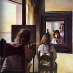 Dali eternizzato da sei cornee virtuali provvisoriamente rispecchiato in sei specchi Real - 1972/73 - Olio su tela