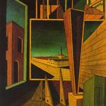 Composición geométrica con paisaje con fábrica