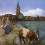 Piet Mondrian - Vista di Winterswijk - 1898/1899 - Acquerello