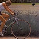 Cyclist and Crow