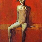 Arlecchino Seduto su un divano rosso - 1905 - china e acquarello su carta