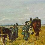 Pianura con cavalli e soldati