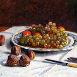 Grapes And Walnuts On A Table, 1876