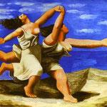 Donne che corrono sulla spiaggia - 1922 - Olio su compensato