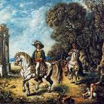 Hombre a caballo en la campina romana