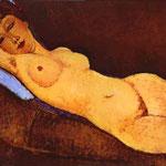 Nudo disteso con cuscino Blu - 1917 - Olio su tela