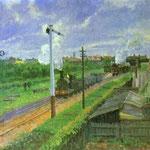 Il treno, Parco Bedford - Olio su tela