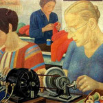 Udarnitzi (Record-Breaking Workers) at the Factory Krasnaya Zaria. 1931.  Oil on canvas, 66 x 92 cm. The Russian Museum, St. Petersburg, Russia.