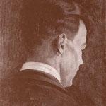 Autoritratto di Mario Radice eseguito nel 1932 con l'ausilio di due specchi (olio su tela. cm 45 x 38,5).
