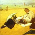 In spiaggia - 1876 - Olio su carta