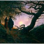 Uomo e donna che guardano la luna