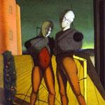 Il duetto (I manichini Rosel torre) - 1915 - Olio su tela