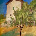 Paesaggio con casa rosa (1927)