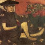 Giovane ragazza su un divano (Mariaska) - 1907 - Olio su tela