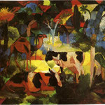 Paesaggio di mucche e cammelli