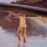 Woman Carrying Canoe