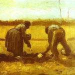 Contadino e donna che pianta patate - 1885 - Olio su tela