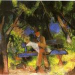Uomo che legge nel parco