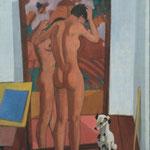 Nudo allo specchio con cagnolino - 1955