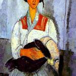 Amedeo Modigliani - Donna zingara con bambino - 1919 - Olio su tela