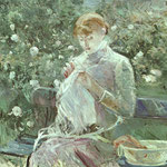 Young Woman Sewing in a Garden, 1881